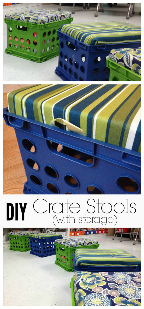 diy crate storage bench