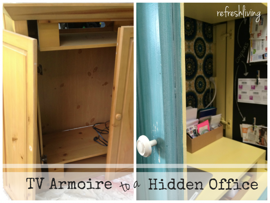 armoire painted inside desk office