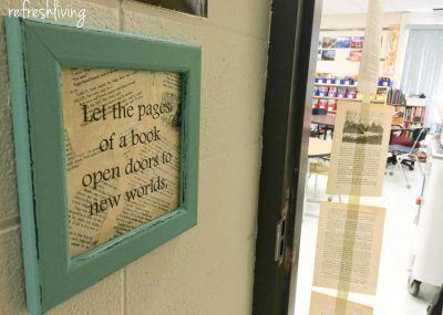 Start off the year on the right foot with an inspirational classroom decoration with book pages.
