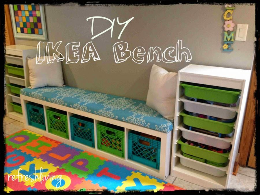 ikea EXPEDIT KALLAX bench & DIY Storage Bench with IKEA Shelf - Refresh Living