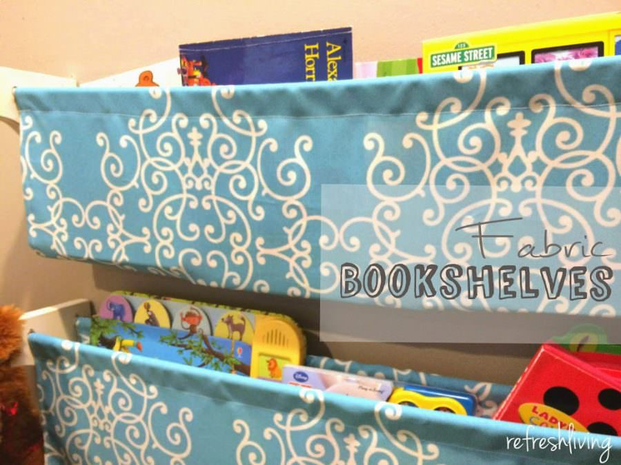 DIY Fabric Bookshelves