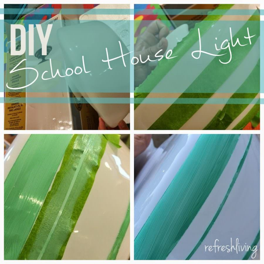 diy glass painted school house light