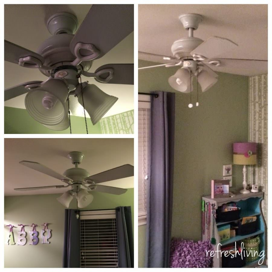 Ceiling fan update refresh living this project couldnt get any easier i didnt even need to remove the fan from the ceiling although ceiling fans arent the most aesthetically appealing mozeypictures Gallery