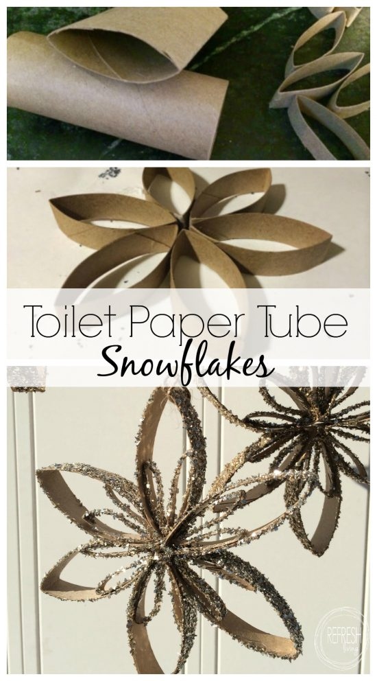 This is totally a holiday craft that kids could make, and even give as gifts. Such a great way to reuse old toilet paper tubes! DIY snowflake ornaments using old cardboard tubes via Refresh Living