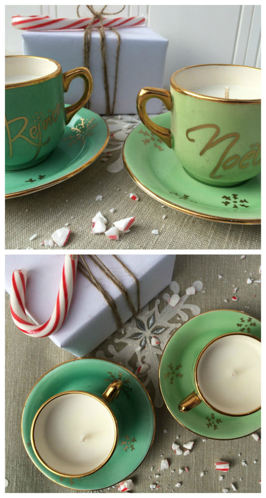 Upcycle tea cups to candles
