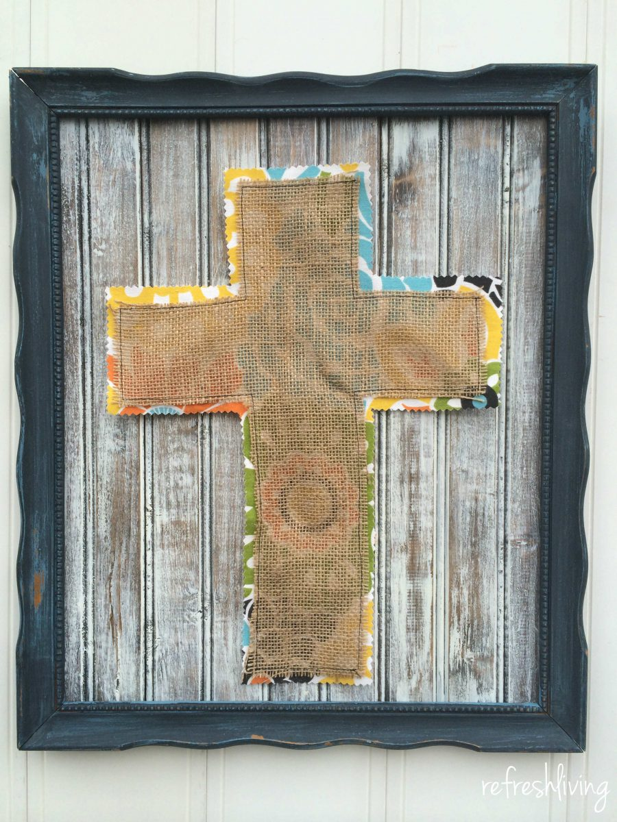 distressed wood burlap frame - Refresh Living