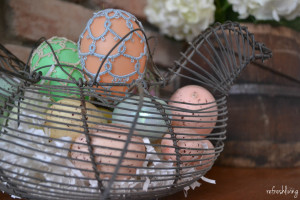 antique egg basket decor