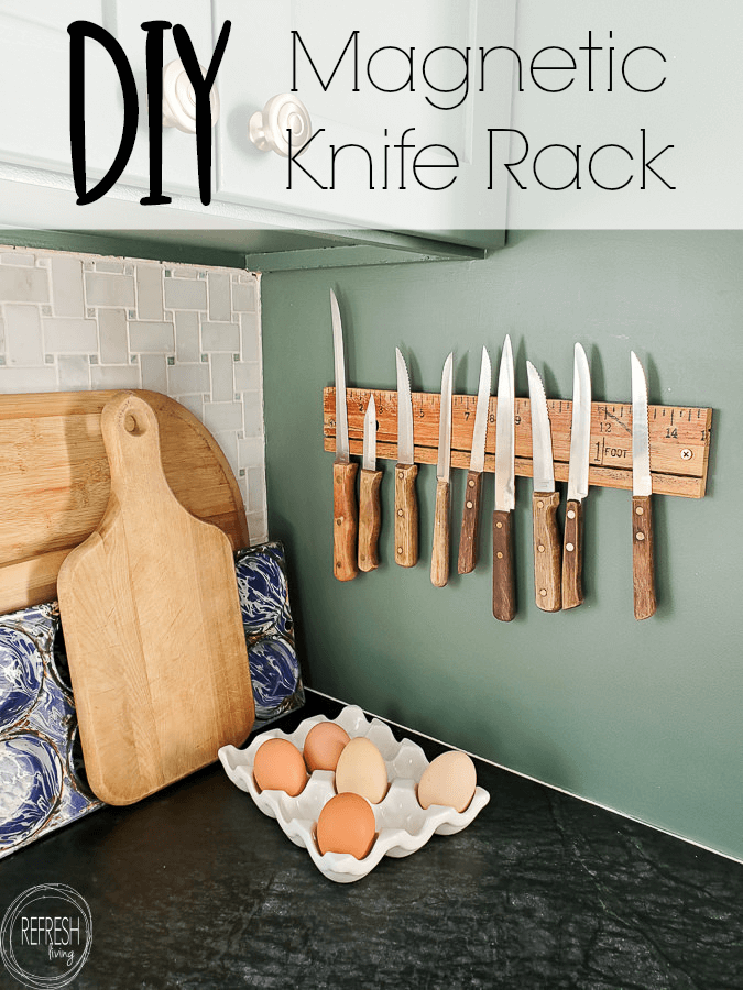 Easily make any piece of wood into a magnetic knife rack. This one was made with a vintage drafting ruler, but you could easily use barnwood or live edge wood.
