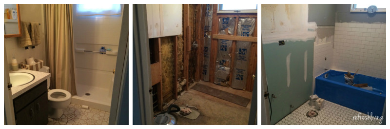bathroom remodel progress