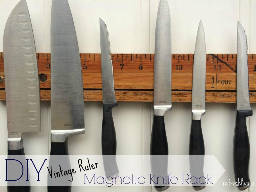 vintage ruler magnetic knife rack refresh living rh refreshliving us diy magnetic kitchen knife holder best magnetic kitchen knife holder