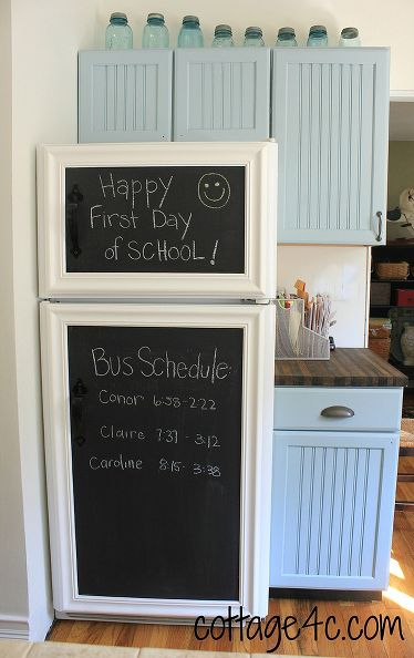 chalkboard on fridge