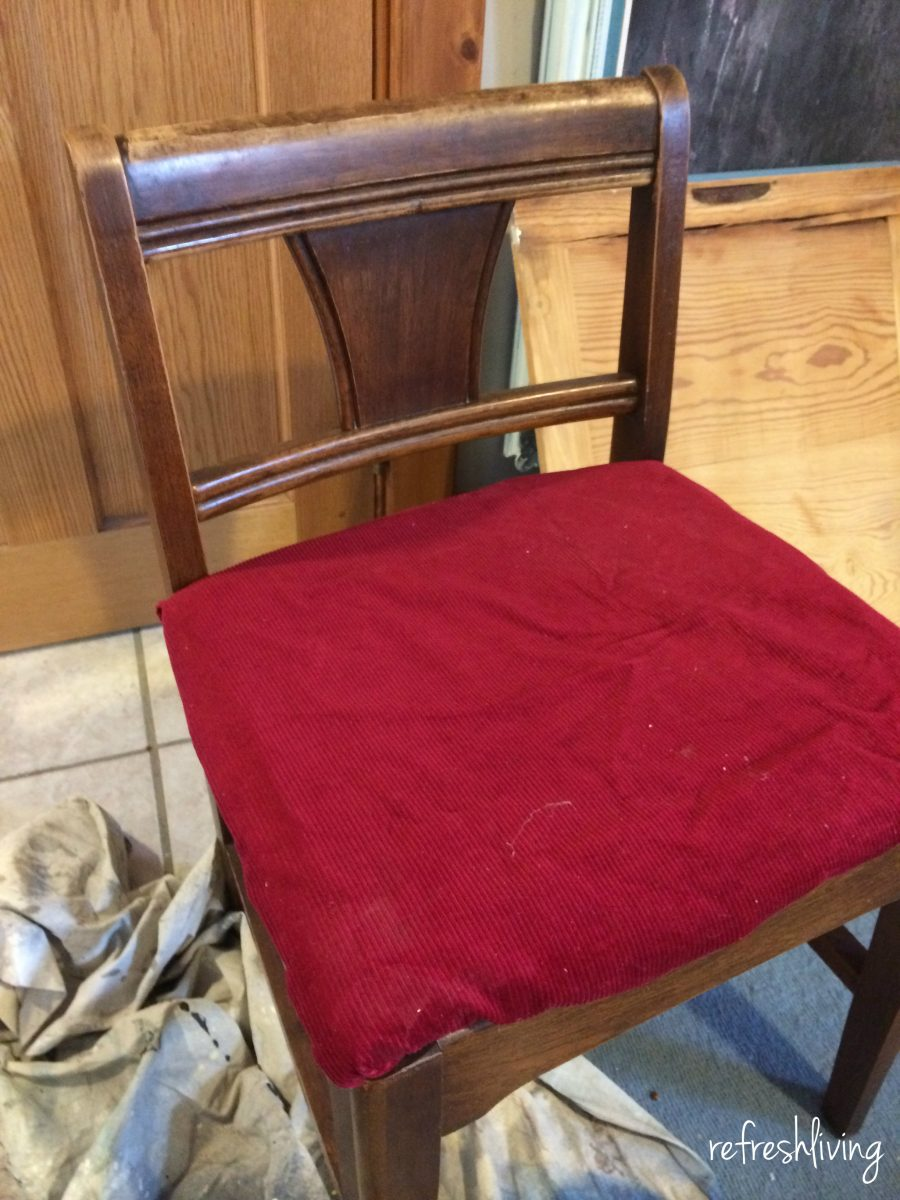 vintage sewing chair before & Vintage Sewing Chair Gets a Facelift - Refresh Living