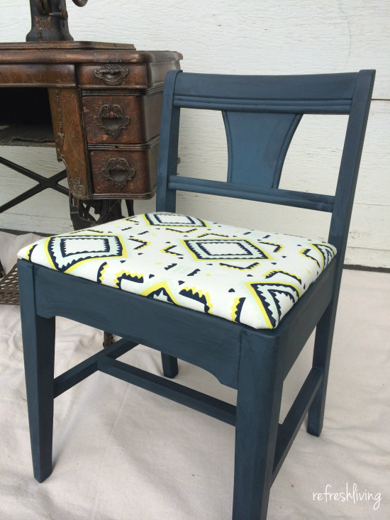 vintage sewing chair paint and upholstered