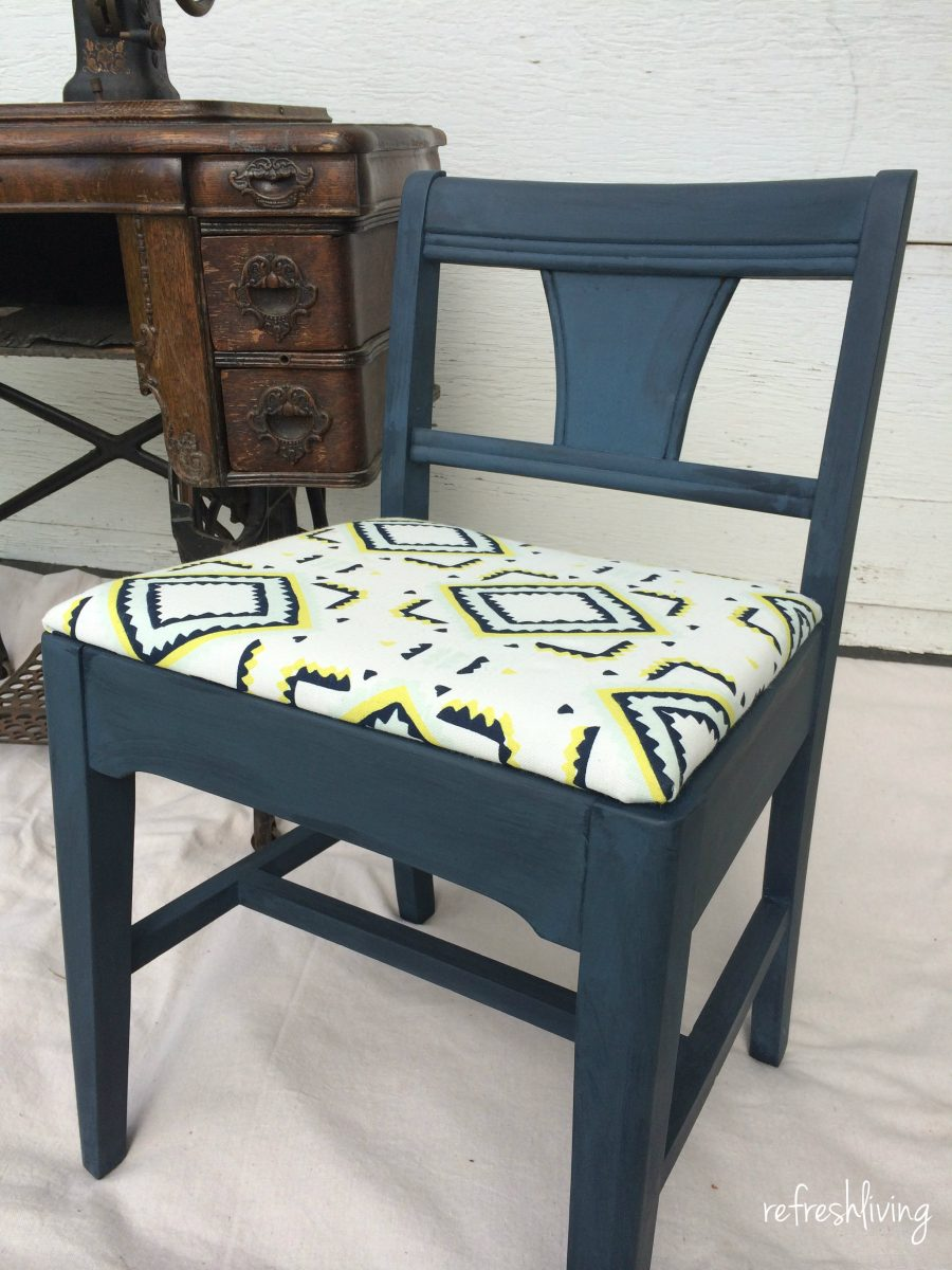 vintage sewing chair paint and upholstered - Vintage Sewing Chair Gets A Facelift - Refresh Living