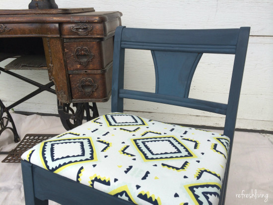 vintage sewing reupholstered chair