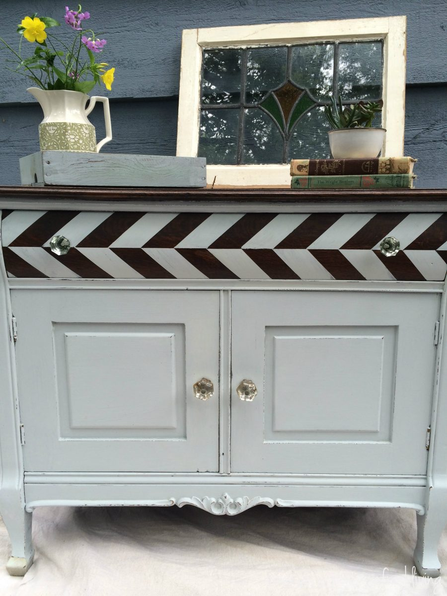 how to paint a herringbone pattern on a dresser   herringbone tutorial   painting clean lines   painted dresser with stained top