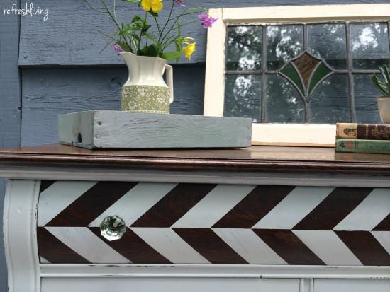 painting herringbone pattern on dresser