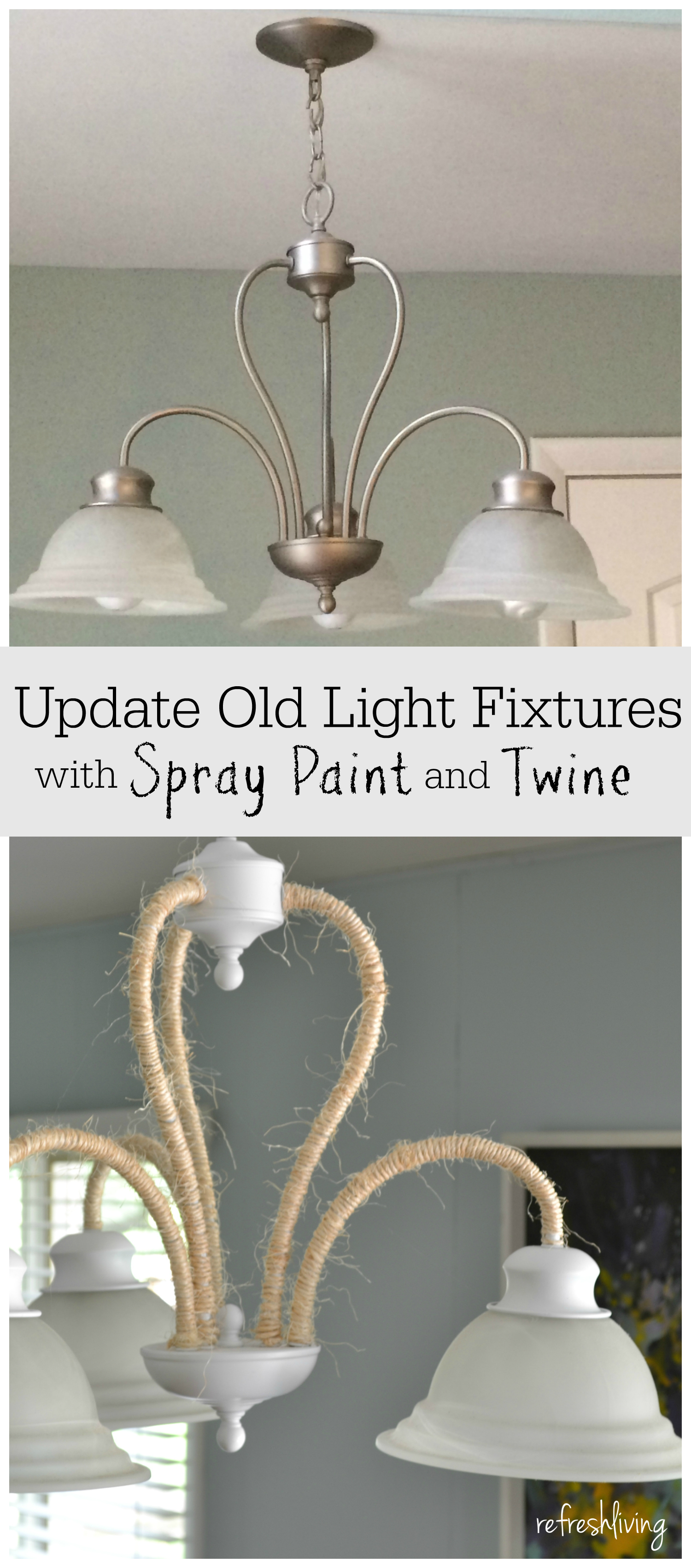 Updating a Boring Light Fixture Rope Wrapped Chandelier Refresh