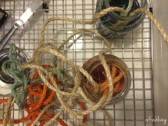 rope wrapped dyed wreath