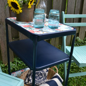 Upcycled Paper Lined Vintage Metal Cart