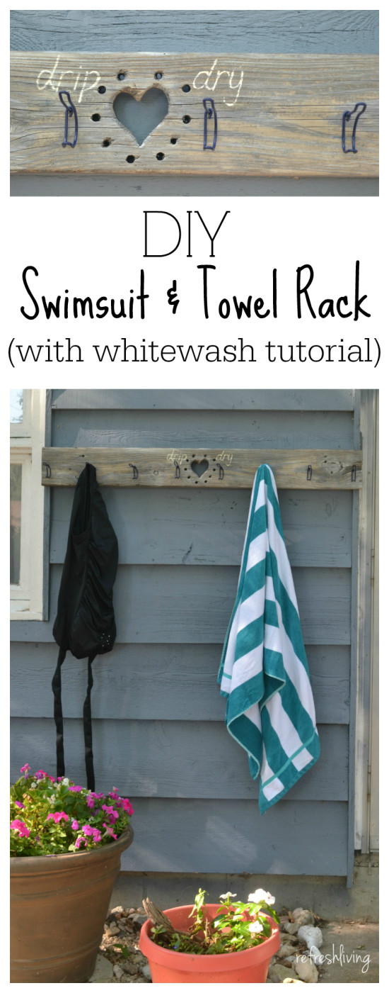 DIY swimsuit and towel rack