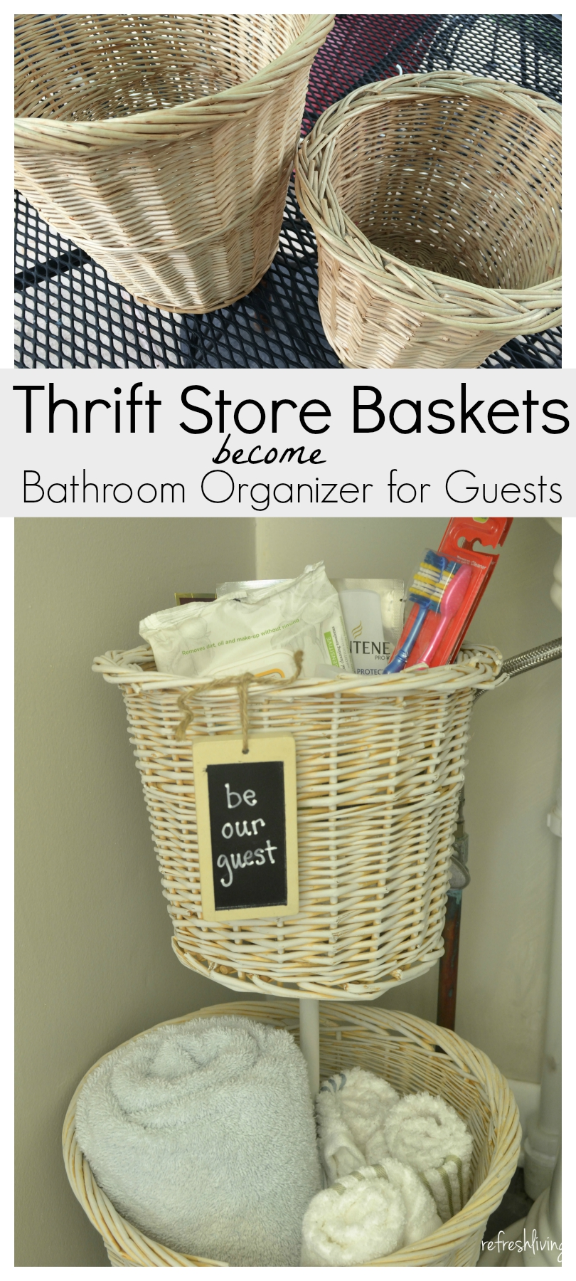 Thirft Store Baskets Become DIY Bathroom Organizer For Guests