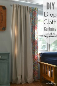 DIY Drop Cloth Curtains | how to make curtains out of drop clothes |how to make lined curtains | which side is the right side on curtain lining