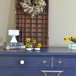 "Coastal Blue Dresser with ""Sweet"" Accents"