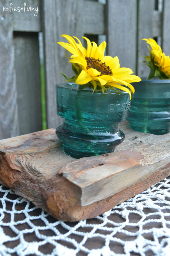 Glass Insulator & Dock Wood Centerpiece