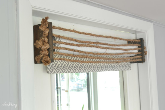 DIY valance with rope