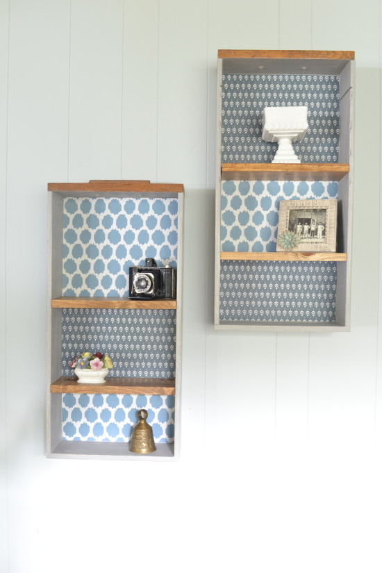 upcycle old drawers into shelves