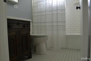 bathroom with antique washstand sink