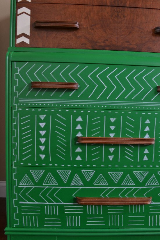geometric painted dresser