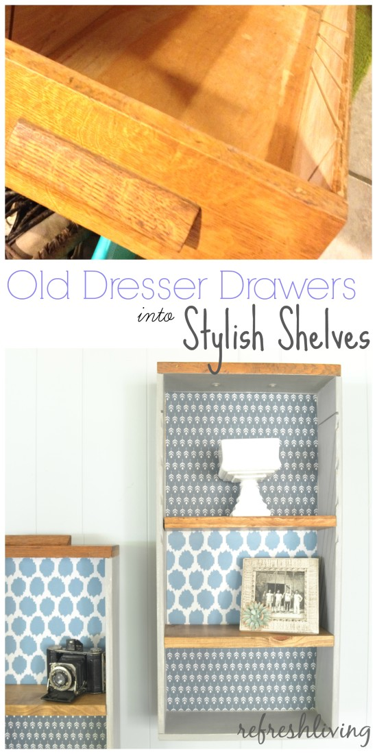 old dresser drawers into shelves