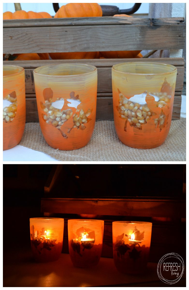 Candy Corn Fall Candle Holders From Old Glass Jars Refresh Living