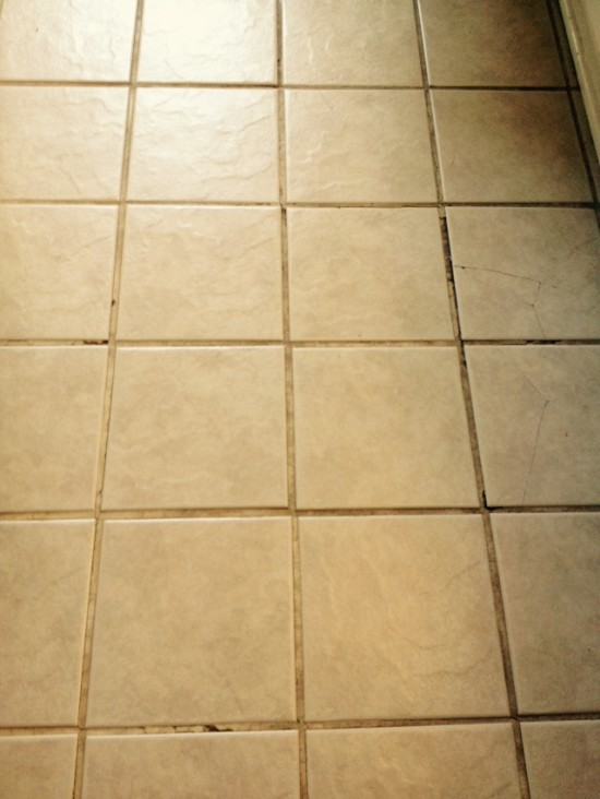 bathroom tile floor before