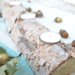Birch Log Candle Holder Centerpiece