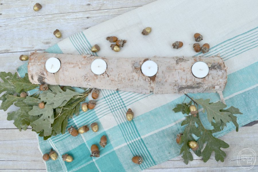 Birch Log Candle Holder Centerpiece