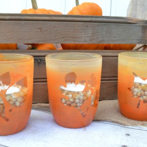 Candy Corn Fall Candle Holders from Old Glass Jars