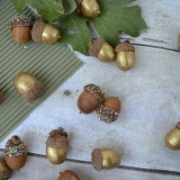 Gold Glittered and Painted Acorns
