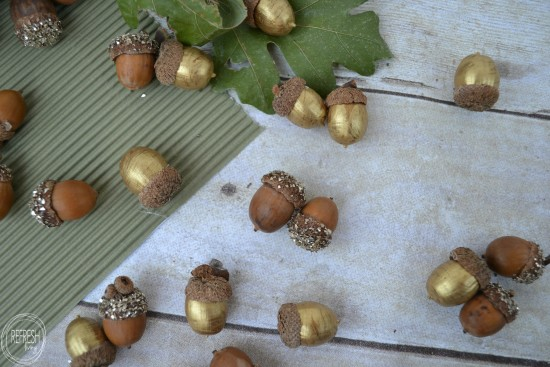 Gold and Glitter Acorns