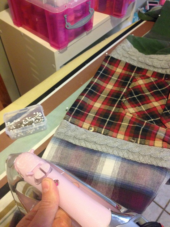 sweater and flannel table runner diy