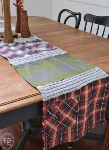 Reuse old flannel shirts to make decorations for fall, and even winter. This table runner was made out of old shirts that had holes in them!