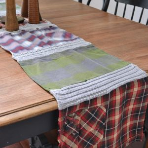Cozy Table Runner with Old Sweaters and Flannel Shirts