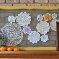 Upcycled Vintage Screen with Doilies