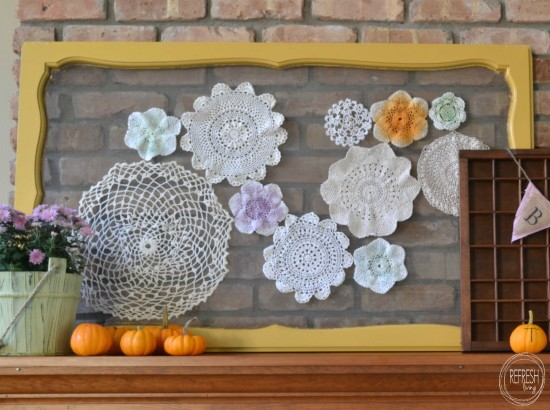 vintage screen with doilies