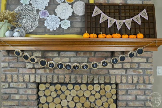 DIY wood slice chalkboard sign banner