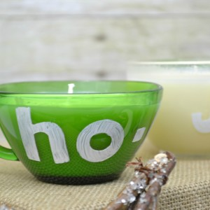 DIY Holiday Candle from Glass Punch Cups | stenciled letters with glass paint
