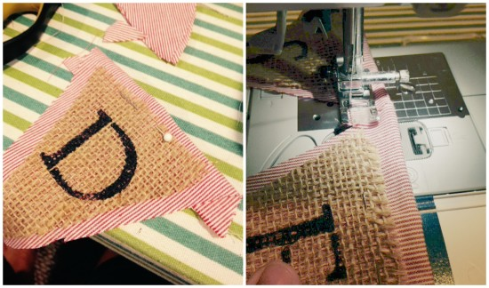 sewing a burlap banner / Easy DIY Fabric and Burlap Banners / www.refreshliving.net