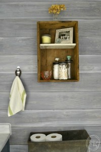 white washed wood plank wall in bathroom | Vintage Rustic Industrial Bathroom Makeover for $200